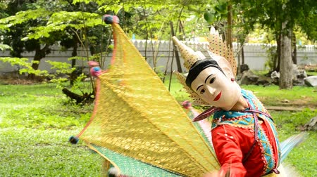 kostüm : Ging Gala Bird Dance, tradition tribe dance culture and tradition of Shan(Tai) people. Stok Video