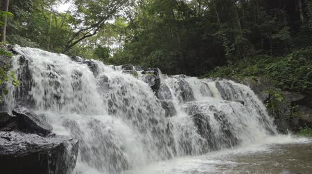 çevre : Waterfall in tropical rain forest in real time switching slow motion. nature background.