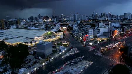 central business district : Day to Night at Hua Lamphong Station, central of transportation and business area,  Bangkok Thailand. time lapse.