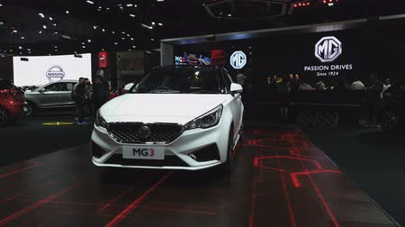 mg : NONTHABURI - NOVEMBER 28: MG3 car on display at The 35th Thailand International Motor Expo on November 28, 2018 in Nonthaburi, Thailand. Stock Footage