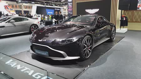 enterprise : NONTHABURI - NOVEMBER 28: Aston Martin Vantage car on display at The 35th Thailand International Motor Expo on November 28, 2018 in Nonthaburi, Thailand. Stock Footage