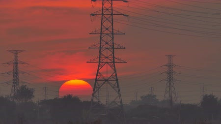 reactor : Movement of sunset at power plant, in rural of Thailand. Time Lapse Stock Footage