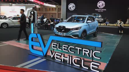 série : NONTHABURI - MARCH 26: MG ZS Pure Electric car on display at The 40th Bangkok International Thailand Motor Show 2019 on March 26, 2019 Nonthaburi, Thailand.