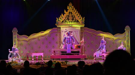 sziámi : LOPBURI, THAILAND - FEBRUARY 28 : The unidentified Thai dancers perform Khon, The high art of Thai with elegance, on display at National Education Conference on Performing Arts on February 28, 2019 in Lopburi, Thailand.