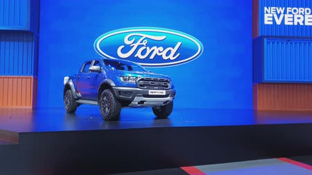 super car : NONTHABURI - MARCH 26: Ford Ranger Raptor pickup on display at The 40th Bangkok International Thailand Motor Show 2019 on March 26, 2019 Nonthaburi, Thailand.