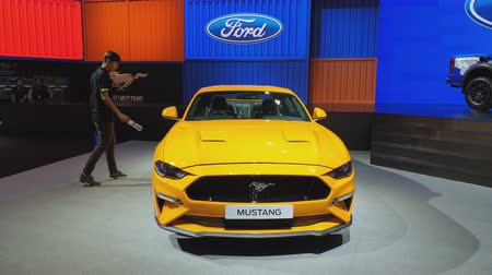super car : NONTHABURI - MARCH 26: Ford Mustang car on display at The 40th Bangkok International Thailand Motor Show 2019 on March 26, 2019 Nonthaburi, Thailand.