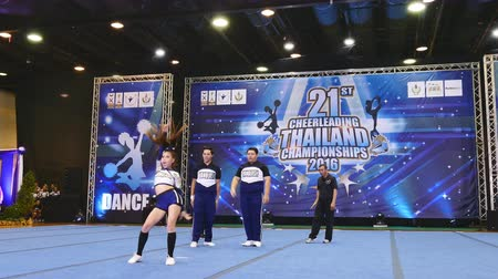 pom : BANGKOK - DECEMBER 11: Group of cheerleaders in during 21th Cheerleading Thailand Championships 2016 at Fashion Island Hall on December 11, 2016 in Bangkok, Thailand.