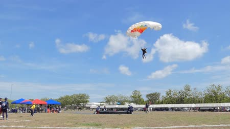 parachuting : Parachutist was landing in to the target, Accuracy Landing,  in during Thai Army Parachuting Competition 2019 on June 15, 2019 in Lopburi , Thailand.