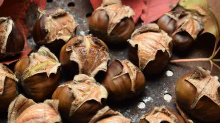 autumn leaves : Roast chestnuts with the characteristic cut Stock Footage
