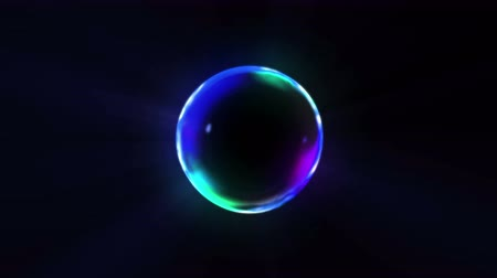 bright bubble : Rainbow bubbles on a dark background, Loop, Stock Footage