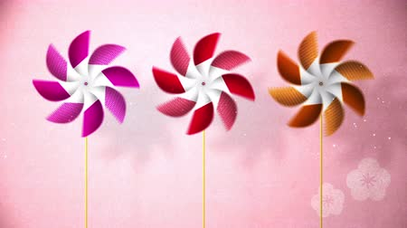 festa : Spinning Pinwheels on pink background, Particle, CG Stock Footage