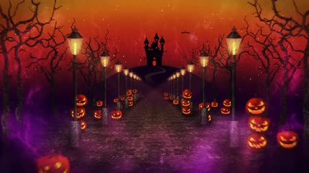 estrelado : Spooky Halloween night, Pumpkin in a mystic forest Loop Stock Footage