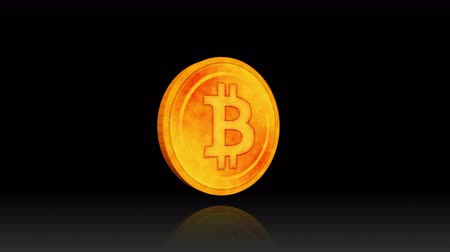 монета : Rotating a Bitcoin on Black Background, Golden Coin with the Capital Letter B Sign, Virtual Money Concept,