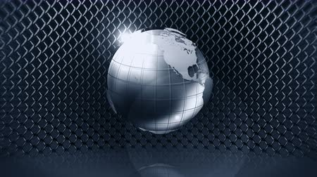 dantel : Metallic Earth Sphere with Wire Fence, CG Animation, Loop, Stok Video