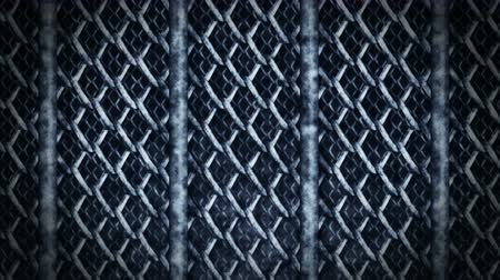 tel kafes : Metal Fence on a Dark Background, Wire Mesh CG Animation, Loop,