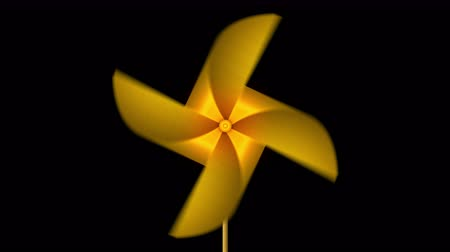 japonská kultura : Golden Paper Pinwheel Toy, Windmill Loop Animation,