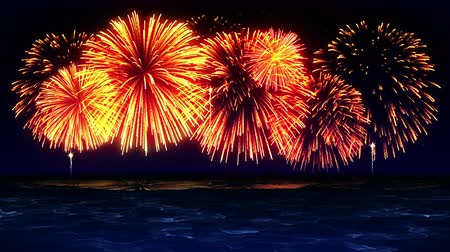 söğüt : Colorful Fireworks Light Up the Sky Over the Beach, CG Loop Animation,
