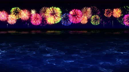 party beach : Des feux d'artifice colorés illuminent le ciel au-dessus de la plage, animation en boucle CG,