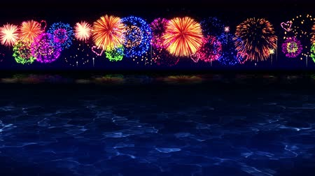 chryzantema : Colorful Fireworks Light Up the Sky Over the Beach, CG Loop Animation,