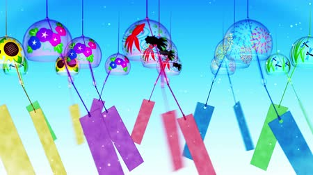 японский рисунок : Japanese Traditional Summer With Wind Chimes, Blue Background, Loop Animation,
