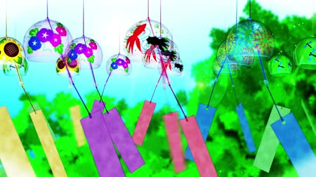 glória : Japanese Traditional Summer With Wind Chimes, Blue And Green Background, Loop Animation,