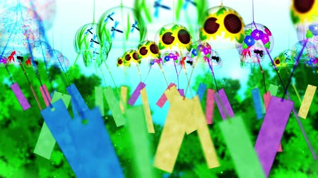 sunflower : Japanese Traditional Summer With Wind Chimes, Blue And Green Background, Loop Animation,