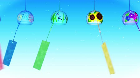 libélula : Japanese Traditional Summer With Wind Chimes, Blue Background, Loop Animation,