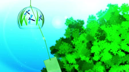 японский рисунок : Blue And Green Background, Loop Animation, and Japanese Traditional Summer With Wind Chime