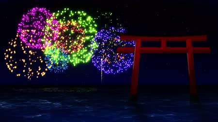 piwonia : Colorful Fireworks Light Up the Sky With Red Torii Gates in Japan, CG Animation, Loop, Wideo
