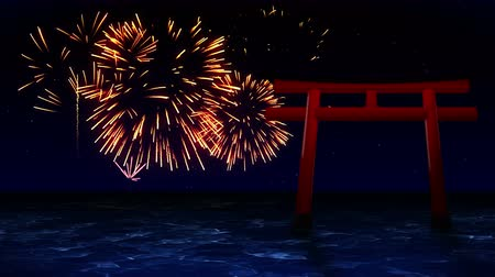 söğüt : Colorful Fireworks Light Up the Sky With Red Torii Gates in Japan, CG Animation, Loop, Stok Video