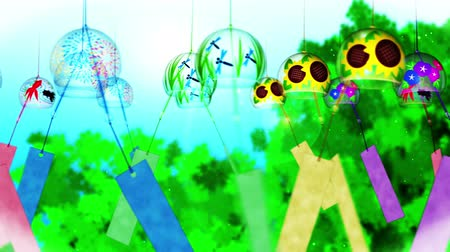 японский рисунок : Japanese Traditional Summer With Wind Chimes, Blue And Green Background, Loop Animation,