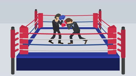 batalha : Business man battle in boxing gloves. Business competition concept. Loop illustration in the flat style. VS.