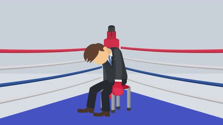 манга : Business man battle lose in boxing gloves. Business competition concept. Loop illustration in the flat style.