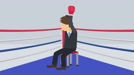 манга : Business man battle win in boxing gloves. Business competition concept. Loop illustration in the flat style.