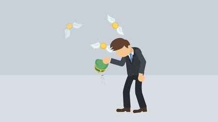 манга : Poor business man. Inequality concept. Loop illustration in the flat style.