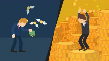 milliomos : Business difference. Rich man versus poor man. Inequality concept. Loop illustration in the flat style. Stock mozgókép