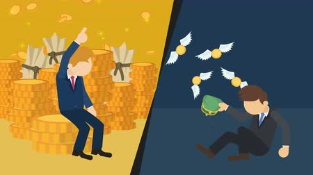 çuval : Business difference. Rich man versus poor man. Inequality concept. Loop illustration in the flat style. Stok Video