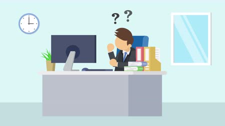 манга : Business man is working. Thinking of idea. Business emotion concept. Loop illustration in the flat style.
