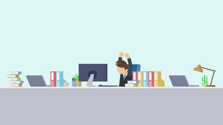 манга : Business man is working. To stretch. Business emotion concept. Loop illustration in the flat style.