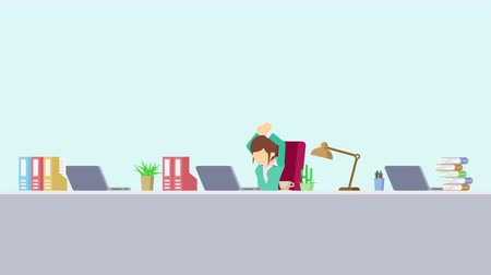 манга : Business woman is working. To stretch. Business emotion concept. Loop illustration in the flat style.
