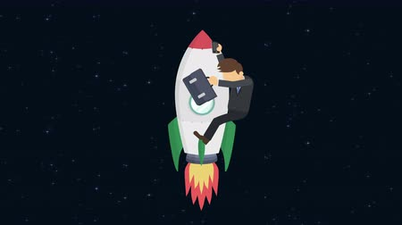 overcoming : Business man flying on rocket through the space. Leap concept. Loop illustration in the flat style.