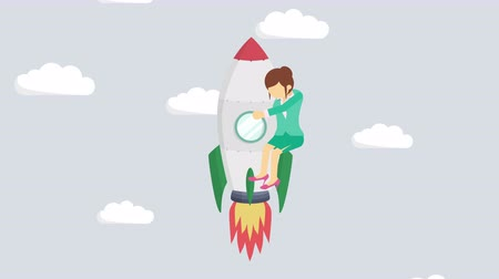 overcoming : Business woman flying on rocket through cloud sky. Leap concept. Loop illustration in the flat style.