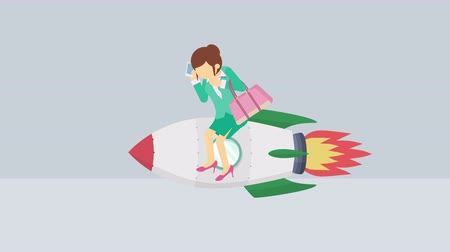 overcoming : Business woman flying on rocket. Leap concept. Loop illustration in the flat style. Stock Footage
