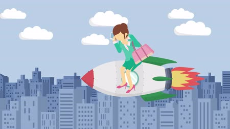 overcoming : Business woman flying on rocket through the buildings. Leap concept. Loop illustration in the flat style.