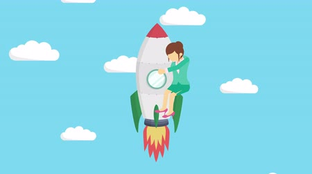 overcoming : Business woman flying on rocket through blue sky. Leap concept. Loop illustration in the flat style.