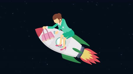 overcoming : Business woman flying on rocket through the space. Leap concept. Loop illustration in the flat style.