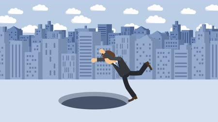 pasti : Business man fall into the hole. Background of buildings. Risk concept. Loop illustration in the flat style.