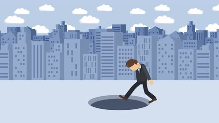 krize : Business man fall into the hole. Background of buildings. Risk concept. Loop illustration in the flat style.