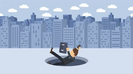 ловушка : Business man fall into the hole. Background of buildings. Risk concept. Loop illustration in the flat style.