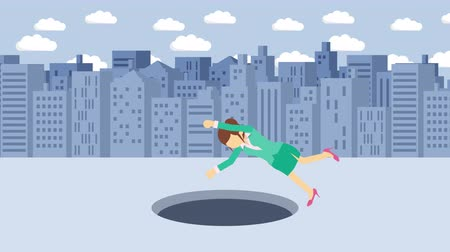pasti : Business woman fall into the hole. Background of buildings. Risk concept. Loop illustration in the flat style. Dostupné videozáznamy